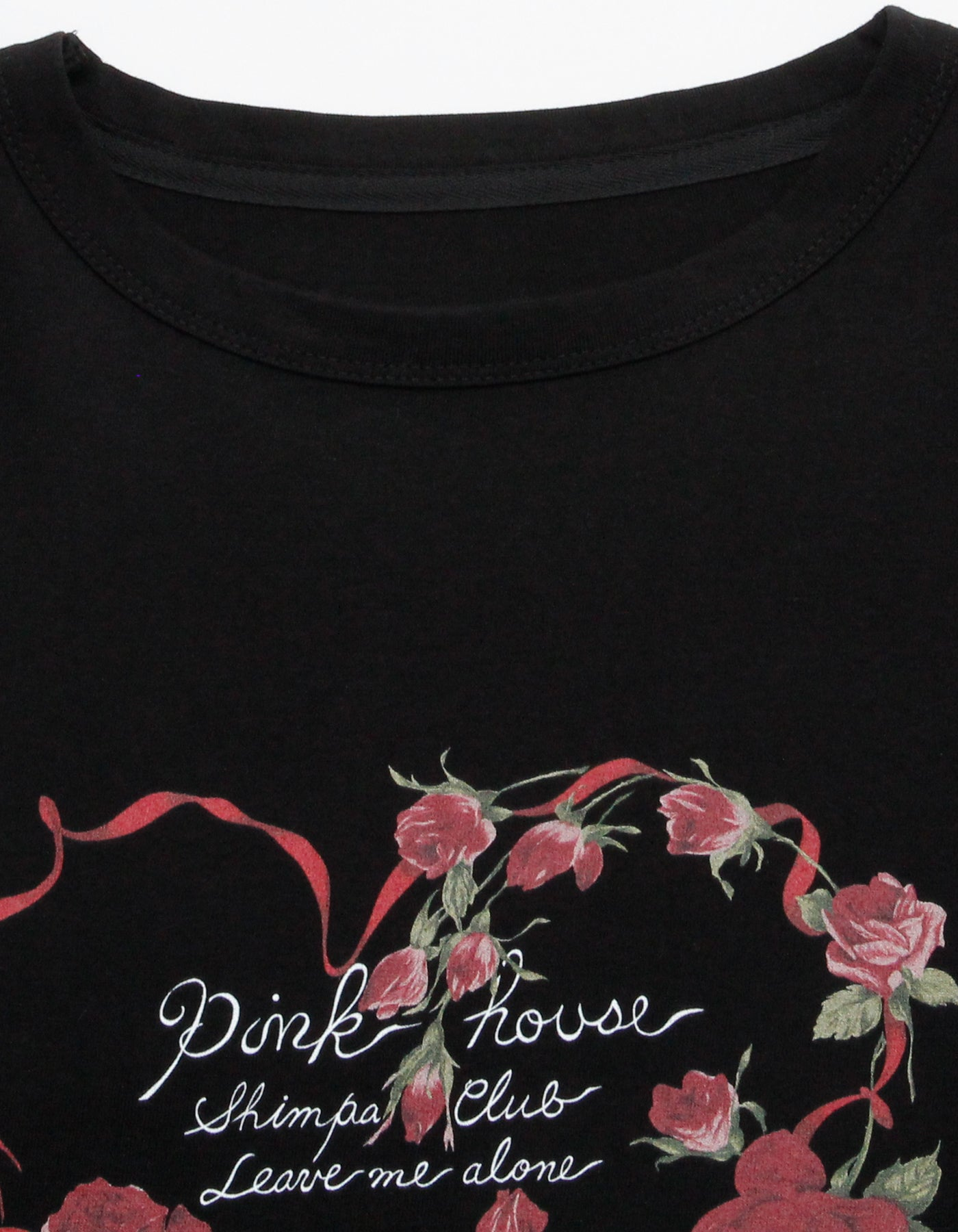 little sunny bite と pink house Rose heart long tee / BLACK