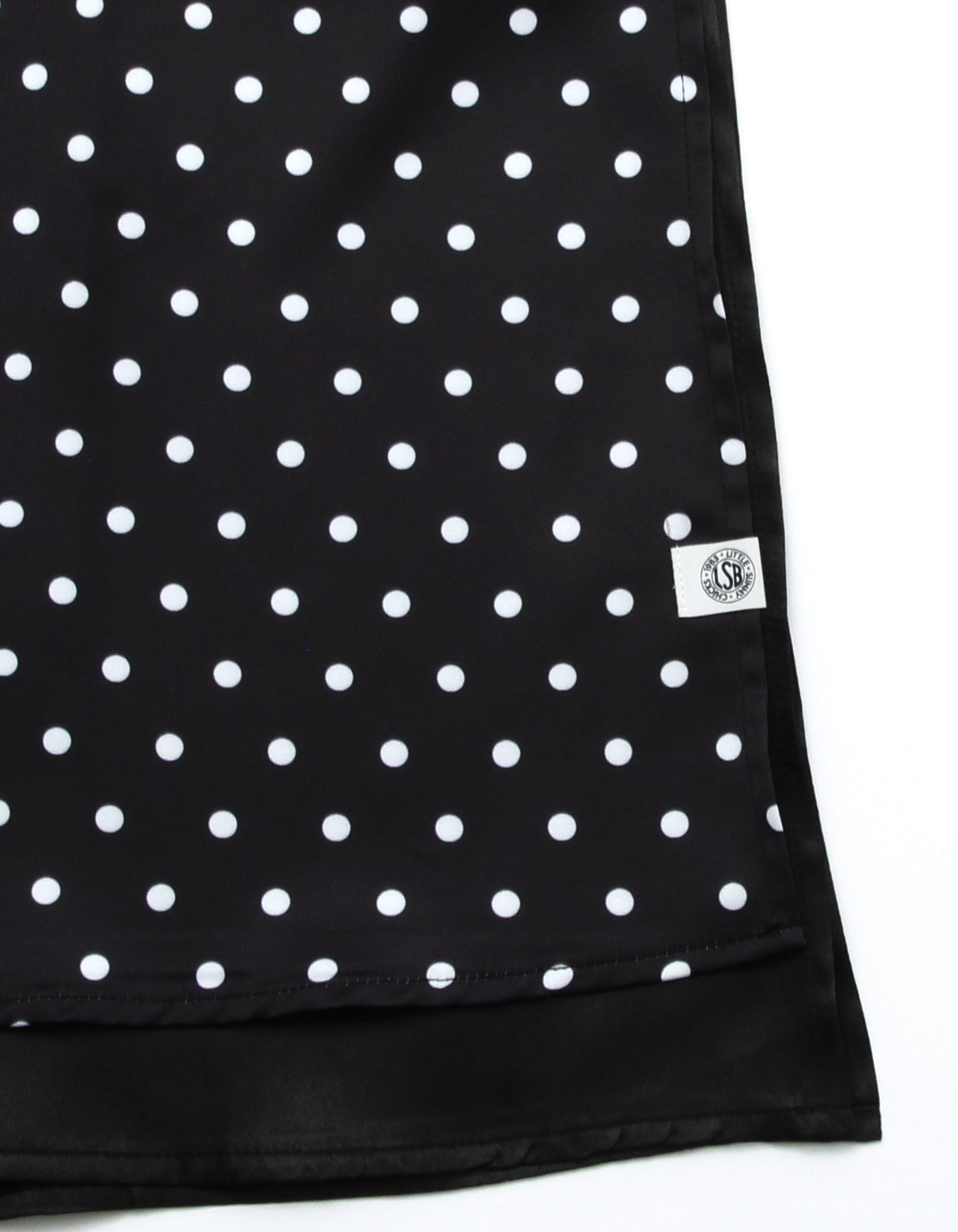 Dot satin dress / BLACK