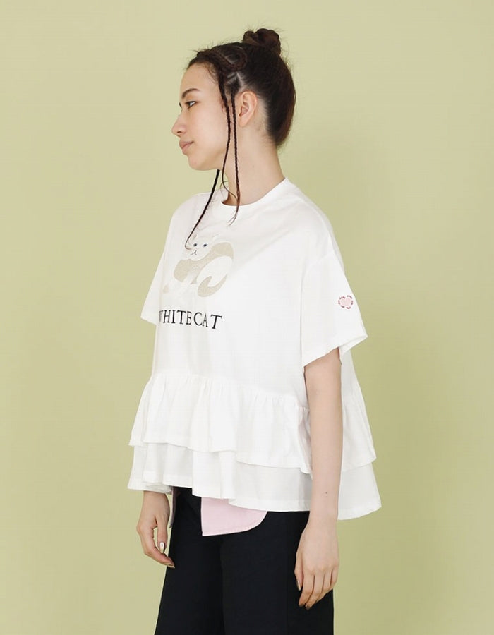 CLAP CLAP X LITTLE SUNNY BITE : STICHED FRILL TEE / WHITE