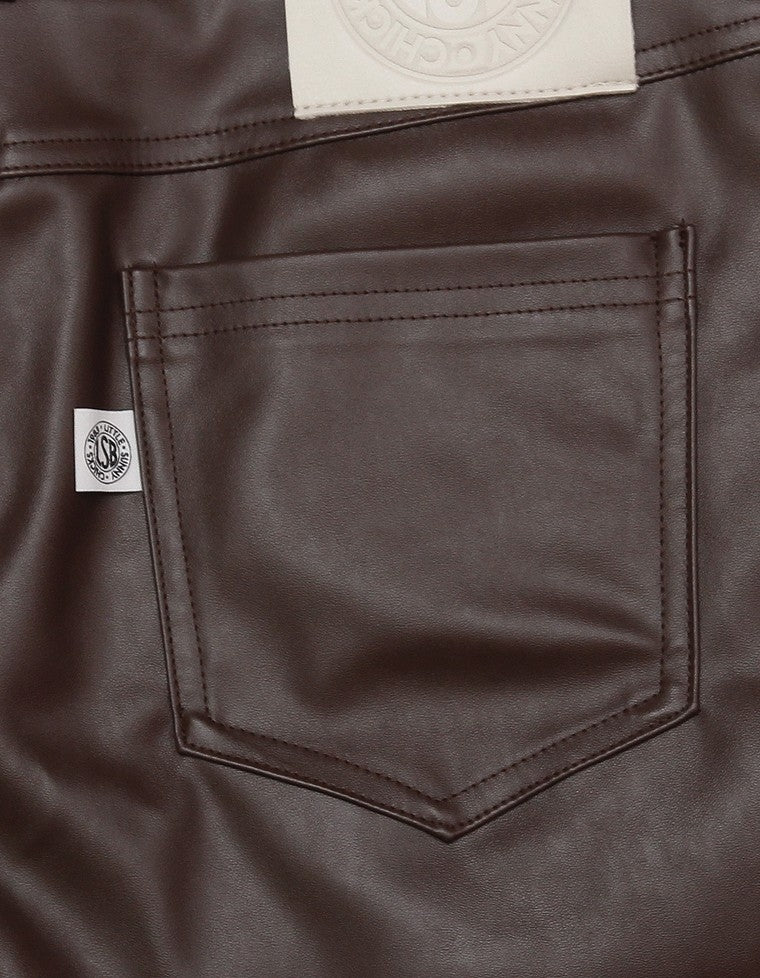 FAKE LEATHER SHORT PANTS / BROWN