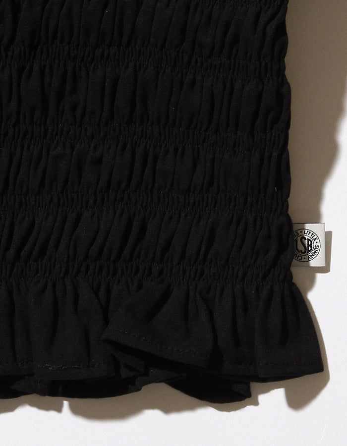 Puff sleeve short blouse / BLACK