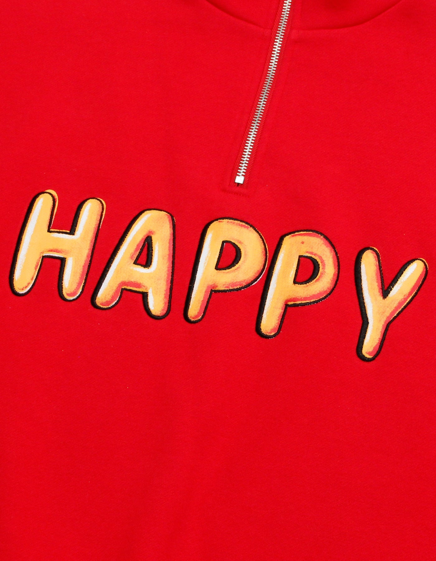 HAPPY LOVE zip sweat top / RED