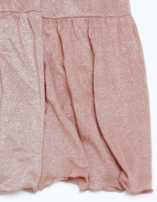 NO COLLAR GLITTER DRESS / PINK