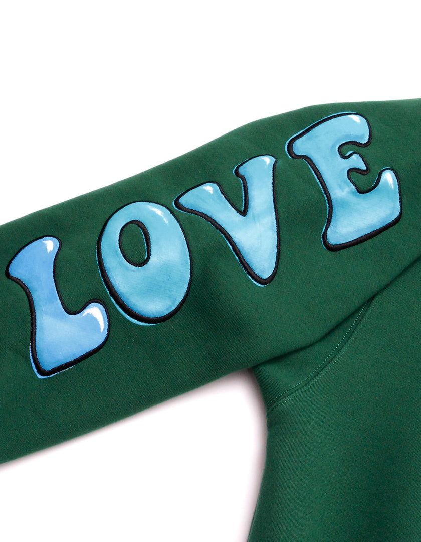 HAPPY LOVE zip sweat top / GREEN
