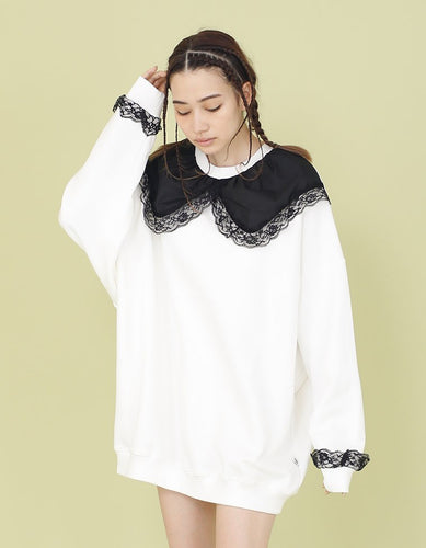 COLLAR ATTACHED SWEATER / WHITE