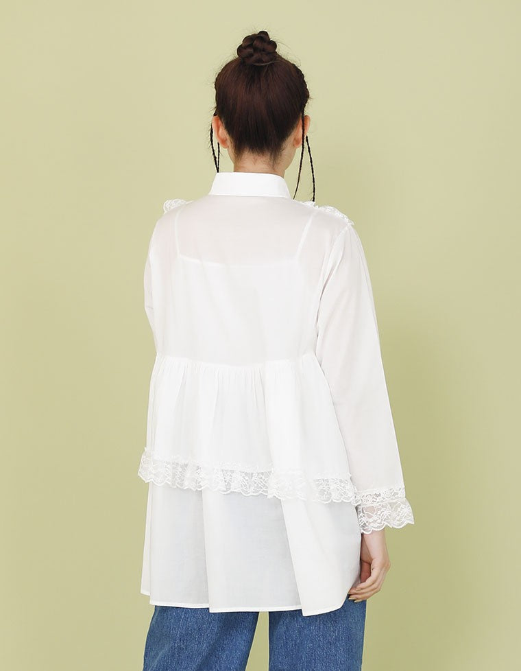 FRILLED BLOUSE / WHITE