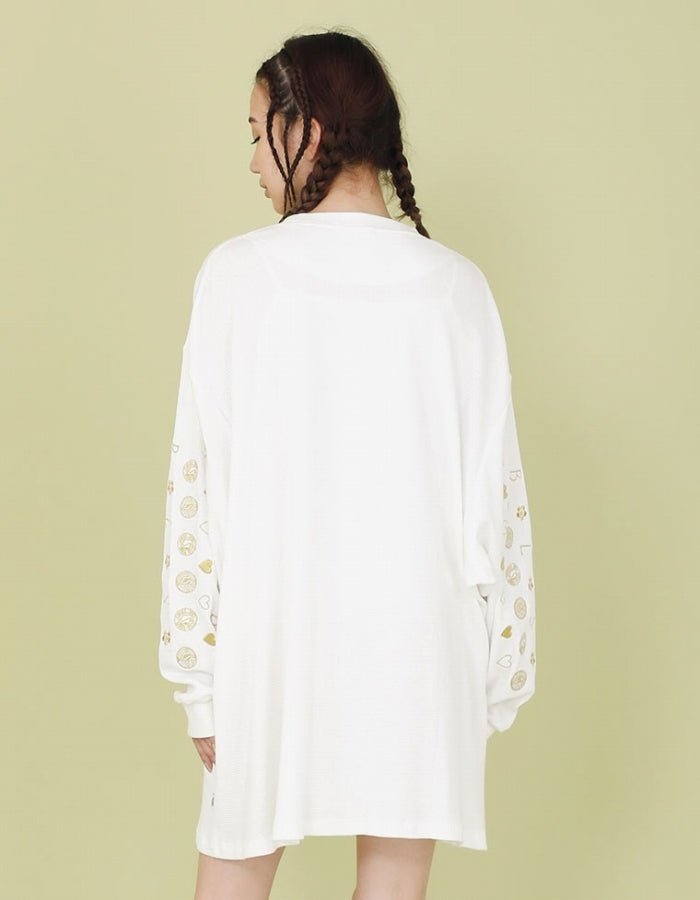 THERMAL STISCHED DRESS / WHITE