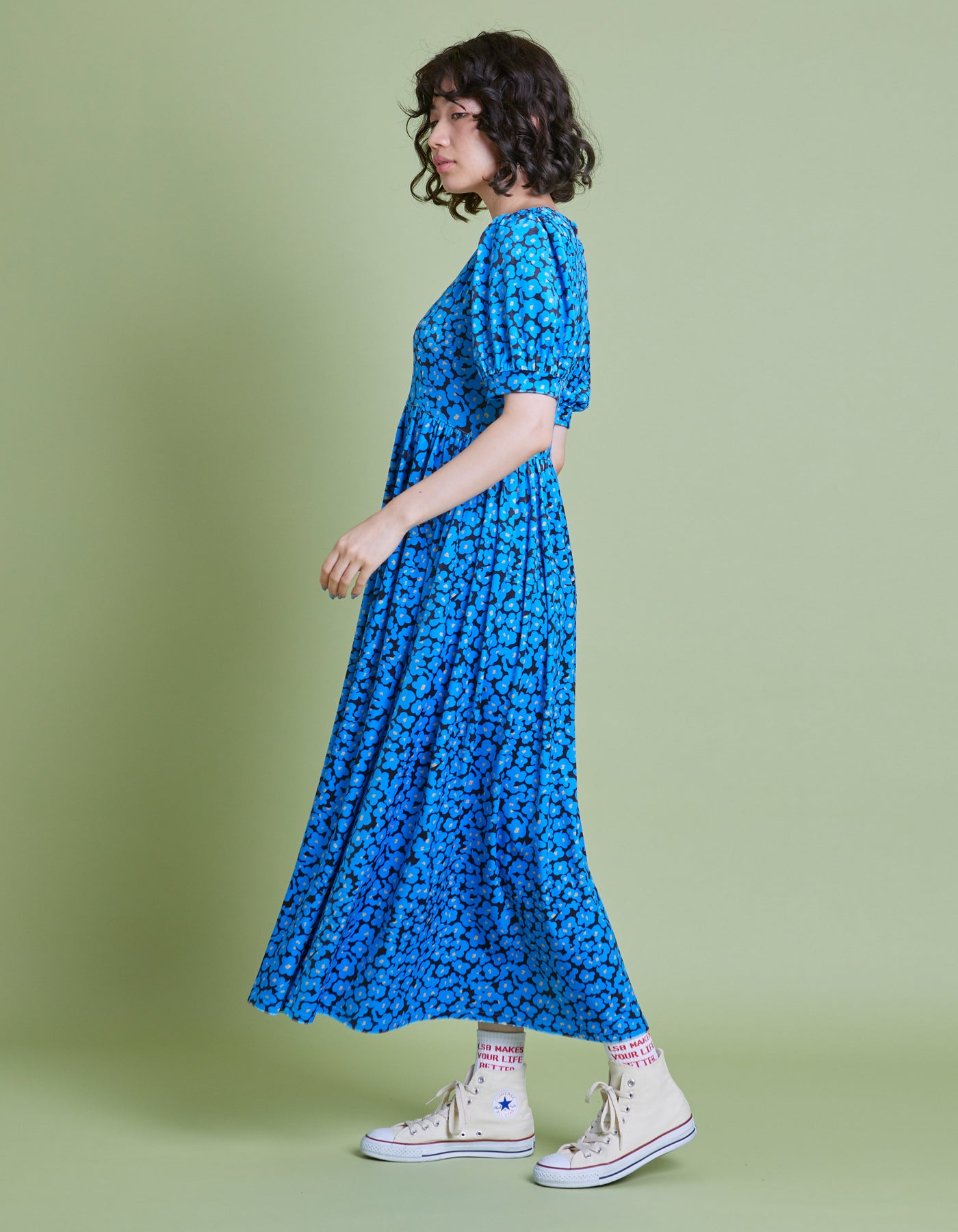 Floral long dress / BLUE