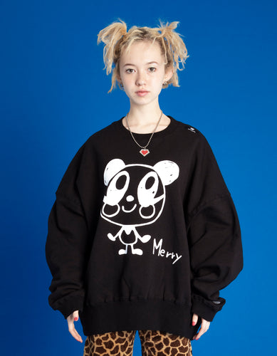 DOODLE MERRY SWEAT TOP / BLACK
