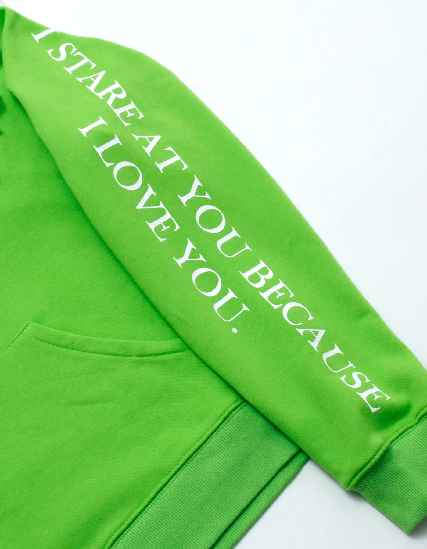 Frilled sweat hoodie / GREEN