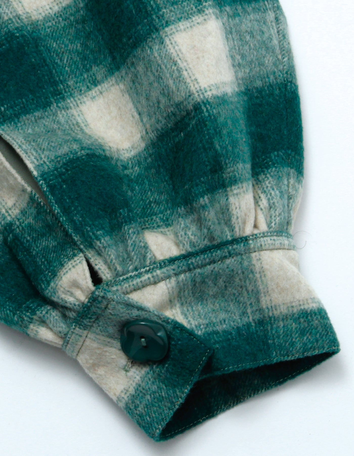 Melton checked jacket / GREEN