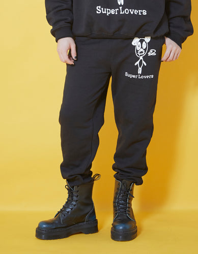 Doodle sweat pants / BLACK