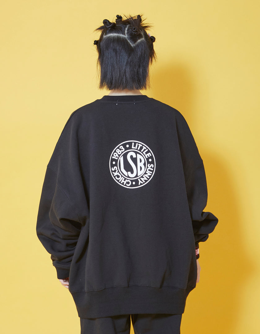 Doodle sweat top / BLACK