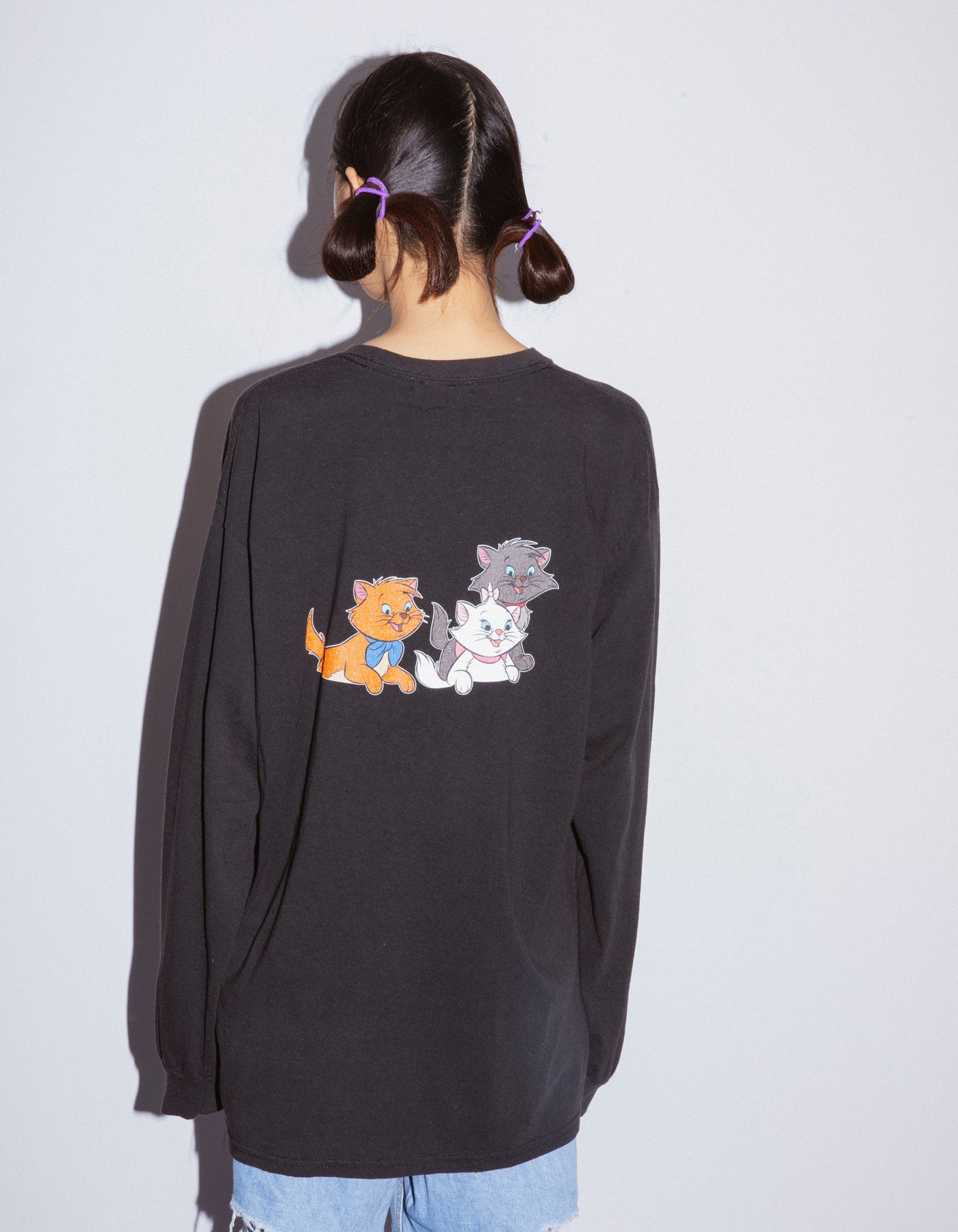 Cats washed long tee / BLACK