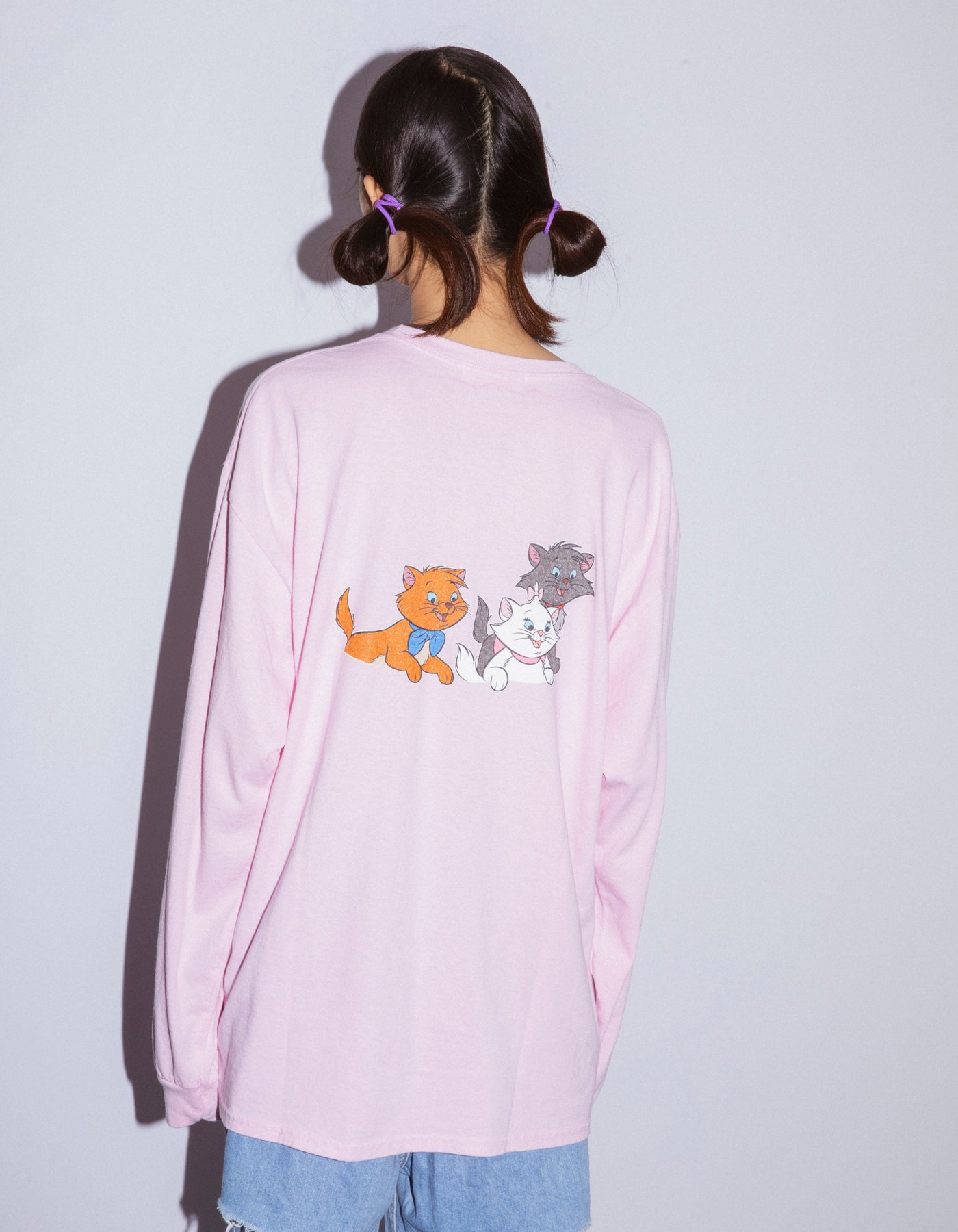 Cats washed long tee / PINK