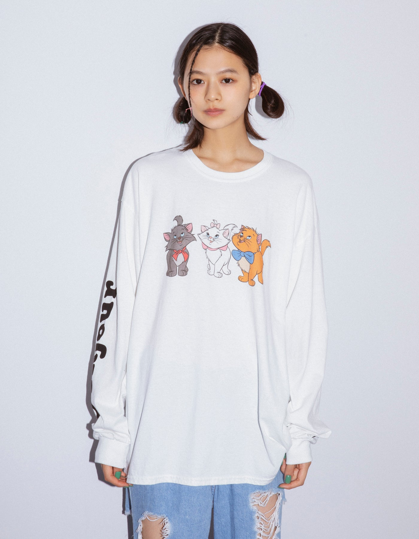 Cats washed long tee / WHITE