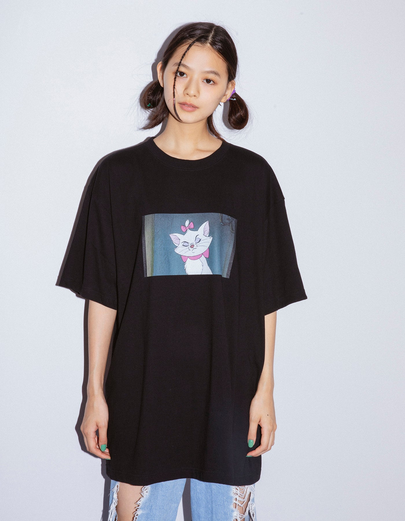 Marie photo big tee / BLACK
