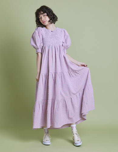 Check long dress / PINK