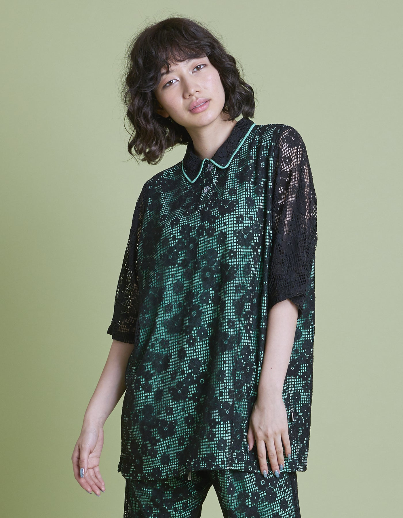 Lacy shirt / GREEN