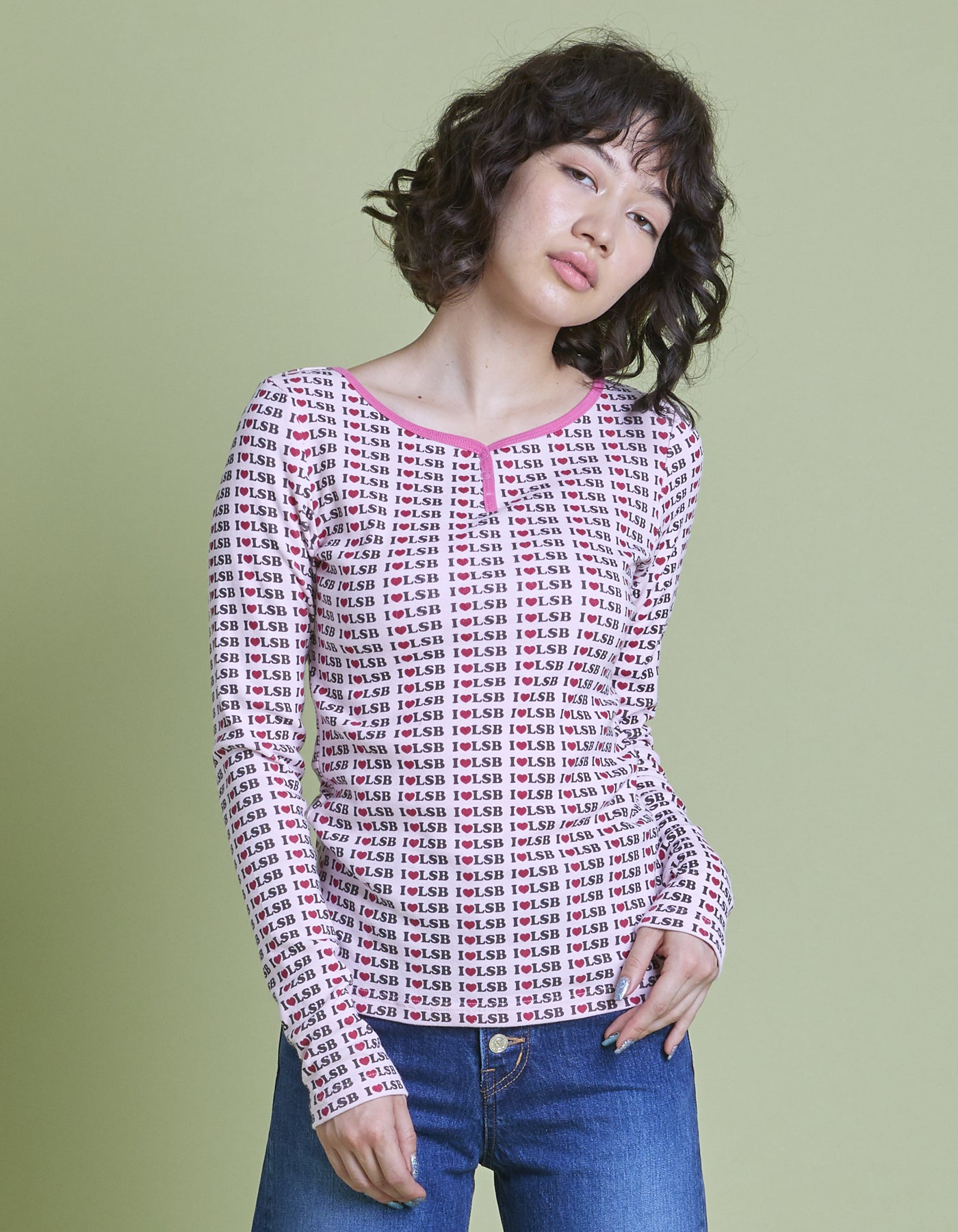 I love lsb long tee / PINK