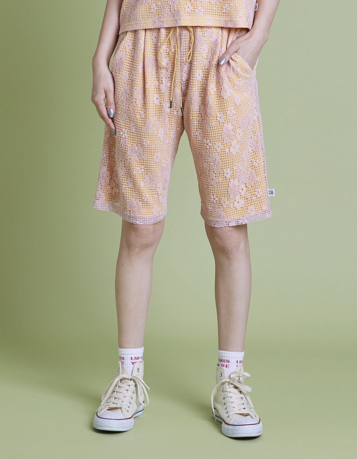 Lacy half pants / YELLOW