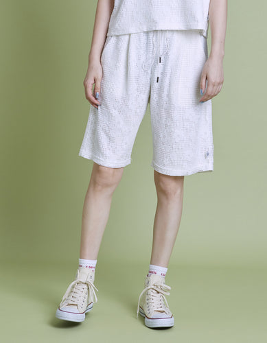 Lacy half pants / WHITE