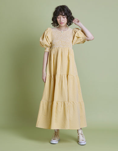 Check long dress / YELLOW