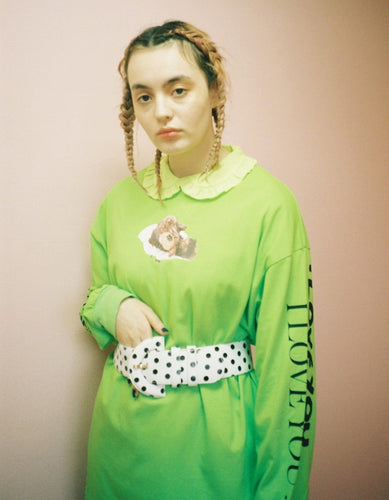 LITTLE SUNNY BITE × DINGA CAKE : FRAGILE BEAR LONG TEE / GREEN