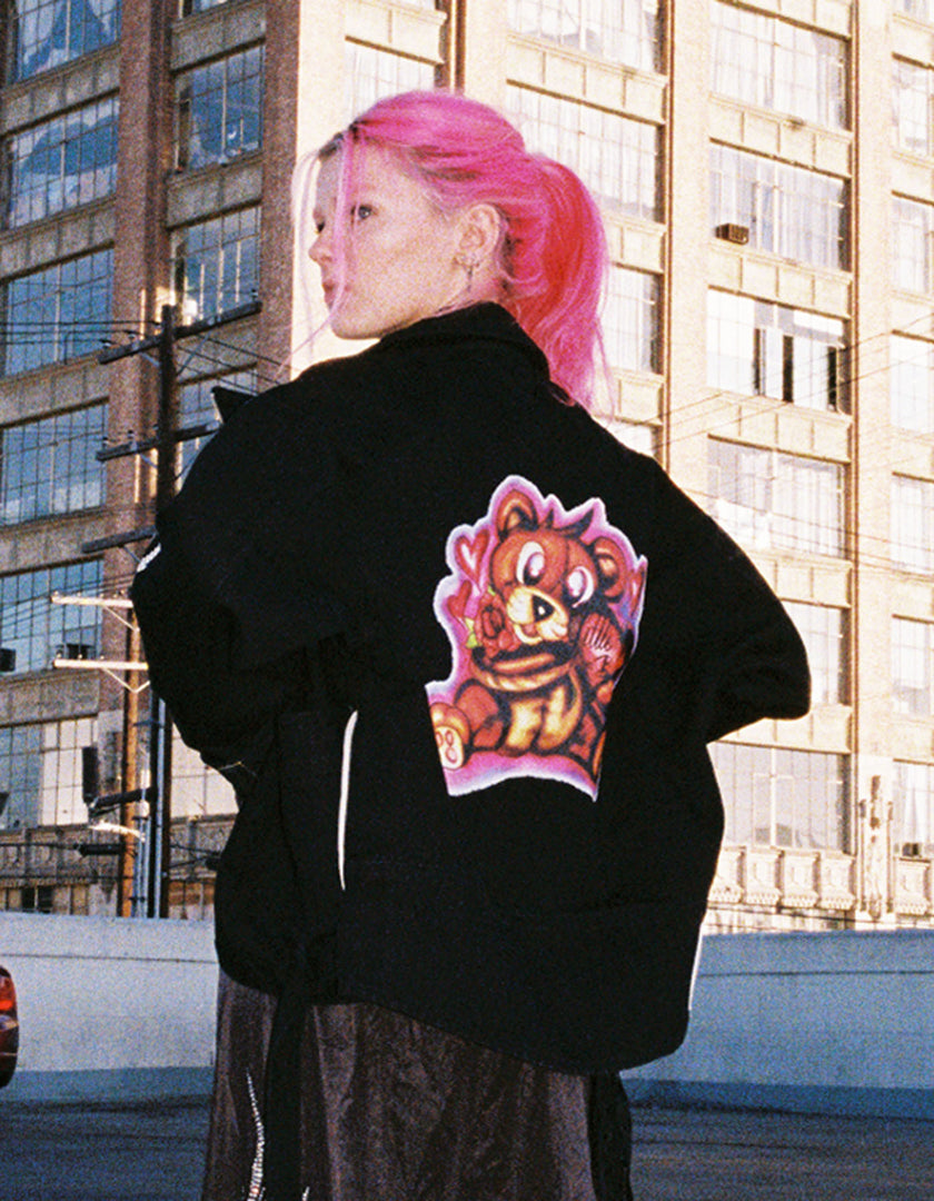 Left Hand X LITTLE SUNNY BITE : graffiti denim jacket / BLACK