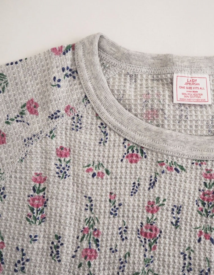 JEMORGAN : FLORAL THERMAL TOP / GRAY