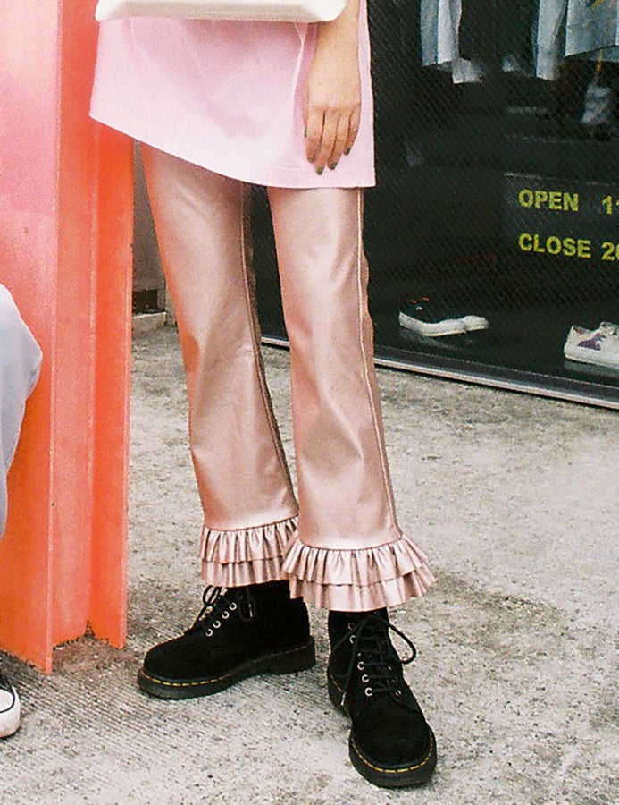 FAKE LEATHER PANTS / PINK