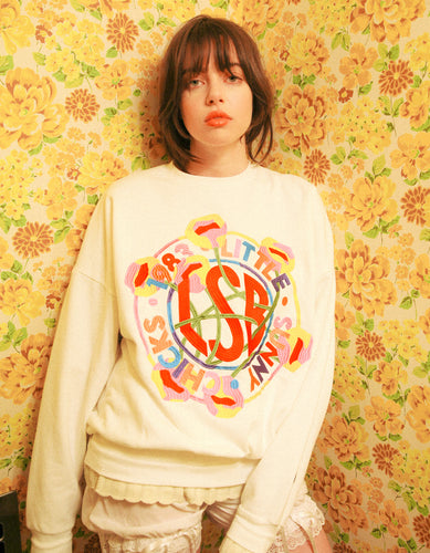 annukilpelainen x little sunny bite Logo stitched sweat top / WHITE