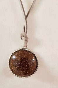 Antique Bronze Metal Pendant Necklace