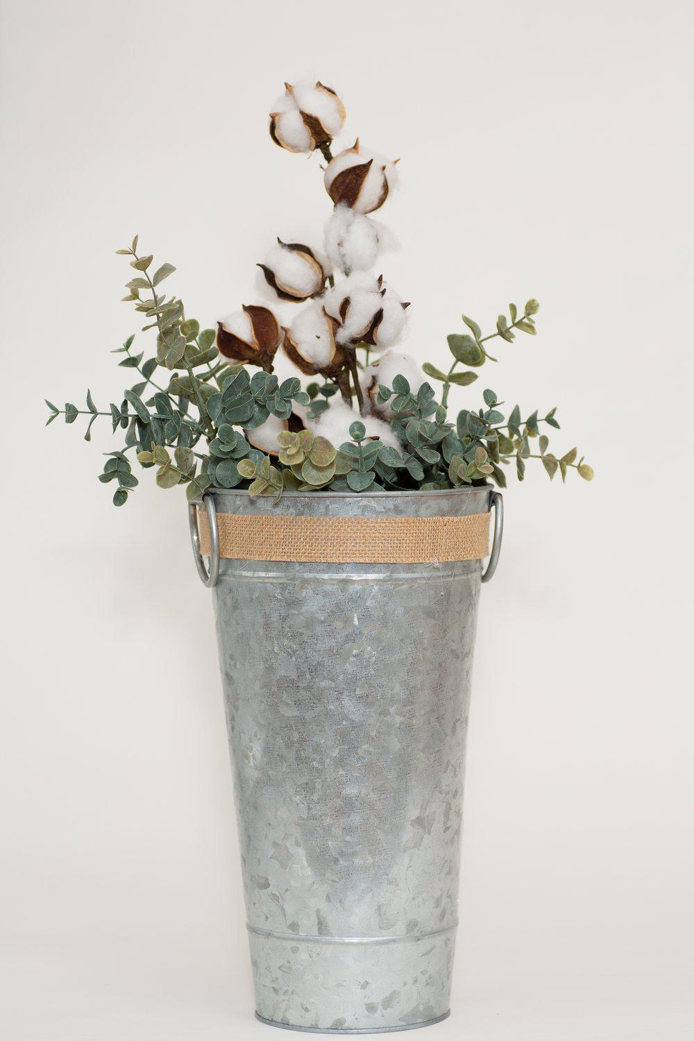Galvanized Bucket with Cotton Eucalyptus