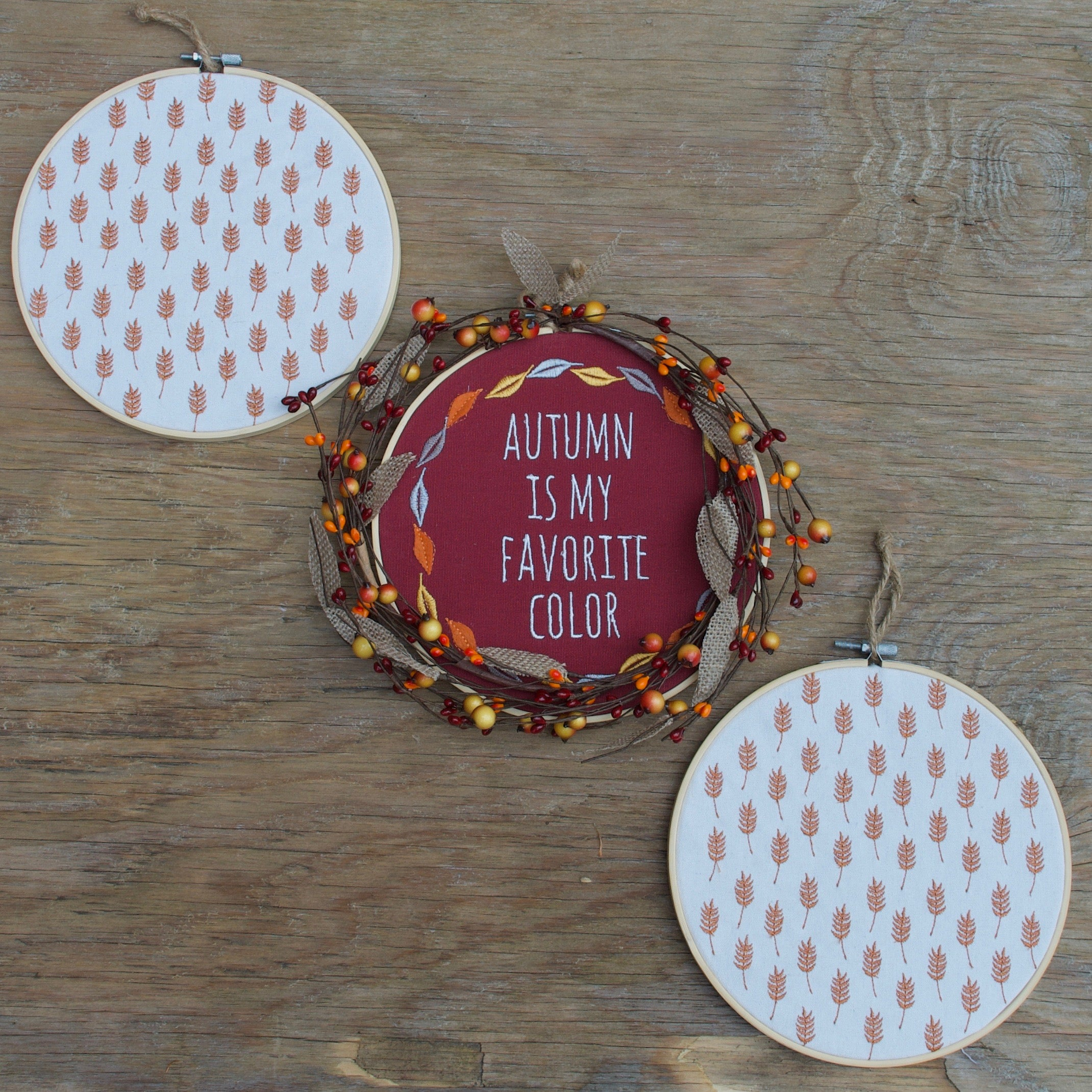 Autumn Hoop Wreath - Fall Leaves