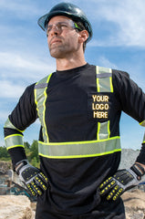 Man standing with black long sleeve safety shirt with a hard hat and your logo here text over the chest pocket