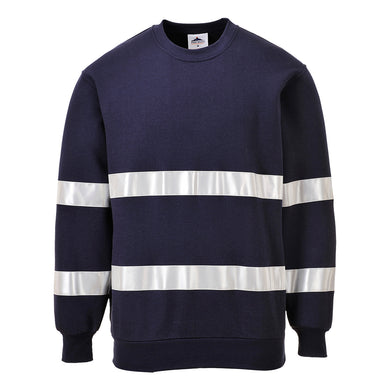 Navy Blue Poly Cotton Reflective Sweatshirt