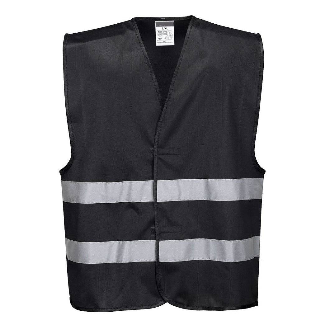 Front of reflective black safety vest - safety vest warehouse