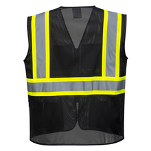 Load image into Gallery viewer, Back of Black hi vis vest with pockets - Safety Vest Warehouse