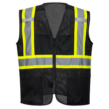 Load image into Gallery viewer, Black Safety Vest Reflective High Visibility Breathable Mesh with Pockets - Safety Vest Warehouse