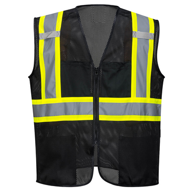 Black Safety Vest Reflective High Visibility Breathable Mesh with Pockets - Safety Vest Warehouse