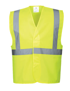 Yellow ANSI Class 2 Safety Vest high visibility reflective tape