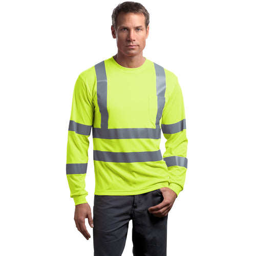 Class 3 Long Sleeve Double Reflective Tape ANSI 107 Snag-Resistant T-Shirt