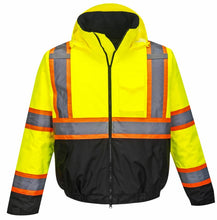 Load image into Gallery viewer, High Visibility Class 3 Two-Tone Yellow/Black Winter Bomber Jacket