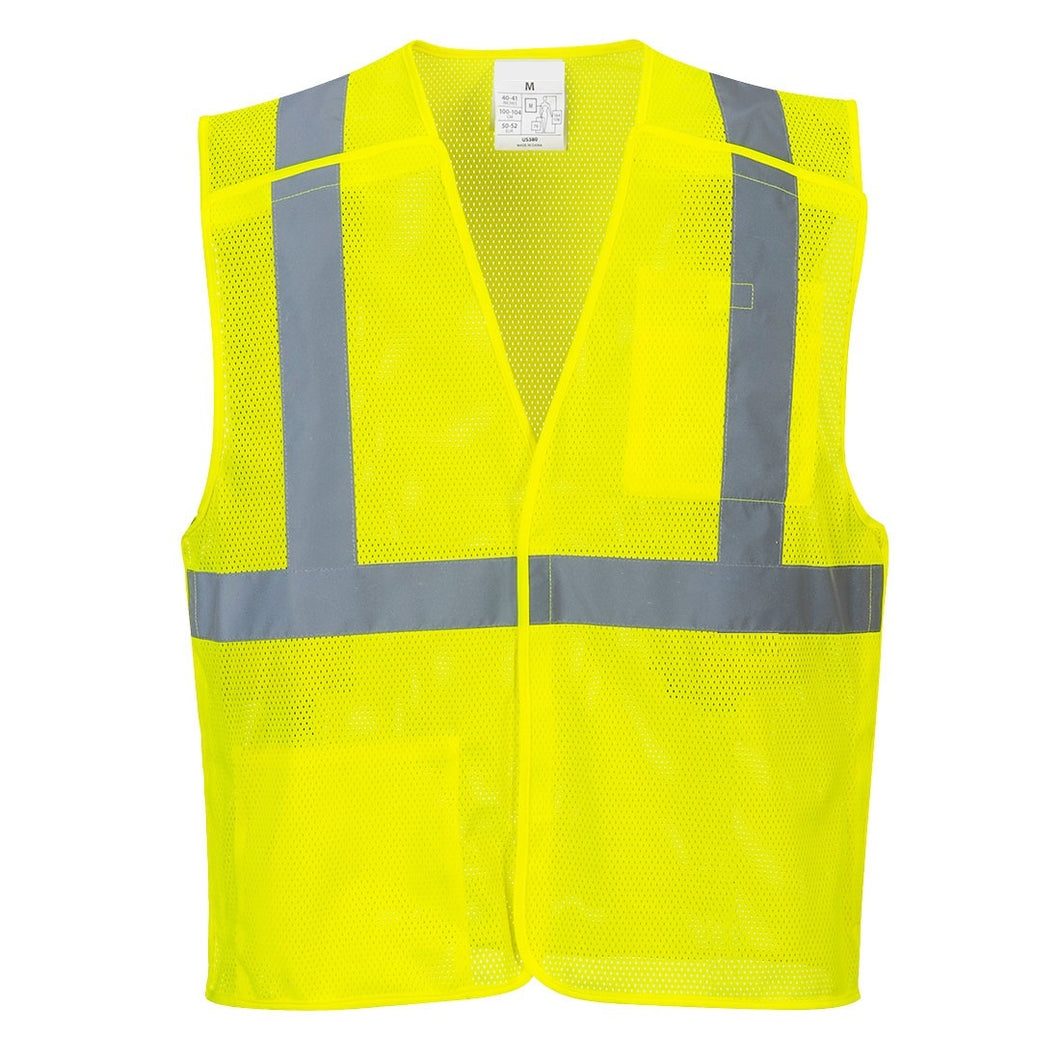 Yellow Breakaway Class 2 Safety Vest Hi-Vis Reflective Breathable Mesh - Safety Vest Warehouse