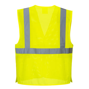 Back of Yellow Breakaway Class 2 Safety Vest Hi-Vis Reflective Breathable Mesh - Safety Vest Warehouse