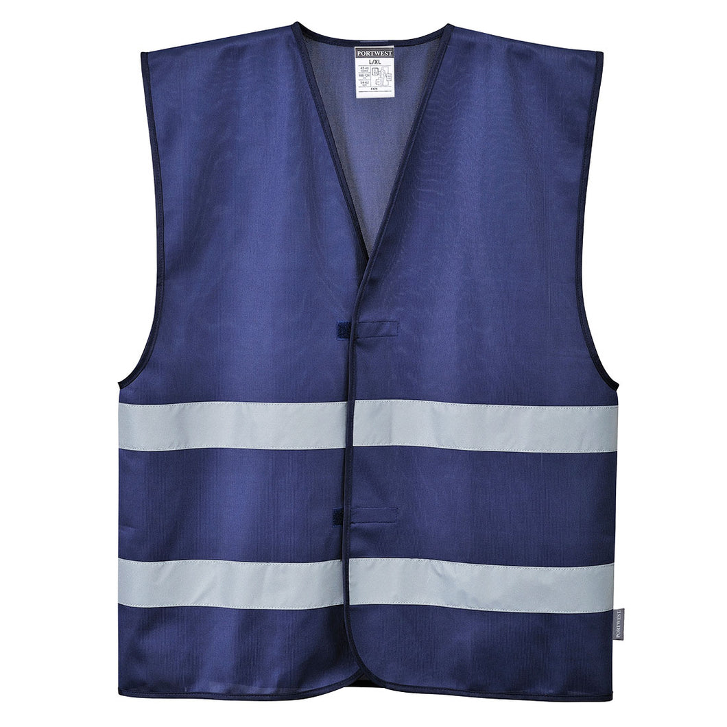 Navy Blue Reflective Hi Visibility Work and Event Style Vest