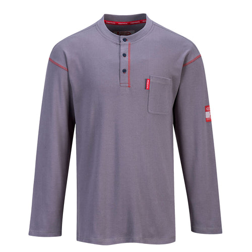 Flame Resistant Long Sleeve Gray Henley