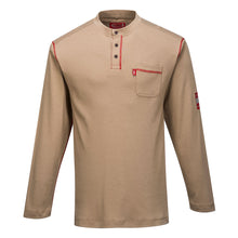 Load image into Gallery viewer, Flame Resistant Long Sleeve Khaki Henley