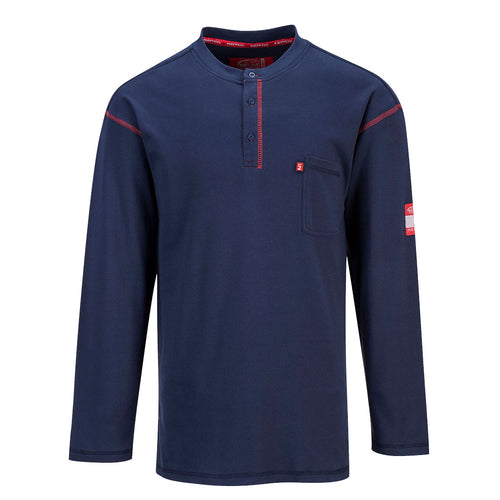Flame Resistant Long Sleeve Navy Blue Henley